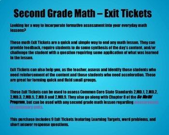 Math Exit Tickets -Grade 2 -Go Math! Program: Measurement Concepts-Chapter 8
