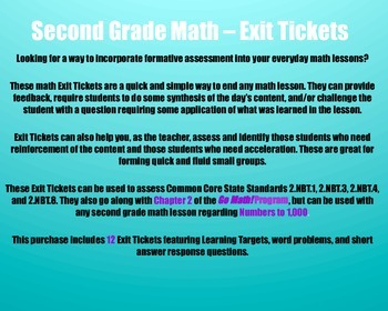 Math Exit Tickets - Grade 2 - Go Math! Program: Numbers to 1,000 - Chapter 2