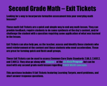 Math Exit Tickets - Grade 2 - Go Math! Program: Place Value Concepts - Chapter 1