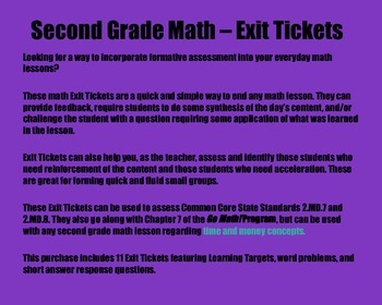 Math Exit Tickets -Grade 2-Go Math! Program: Time & Money Concepts-Chapter 7