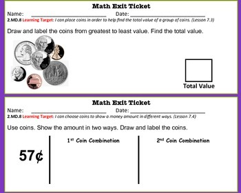 Math Exit Tickets -Grade 2-Go Math! Program: Time & Money Concepts-Chapter 7