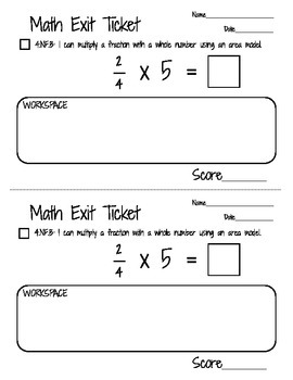 Math Exit Tickets - Multiplying a Fraction by a Whole Number