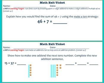 Math Exit Tickets-Second Grade -Go Math! Math Program:2-digit Addition-Chapter 4