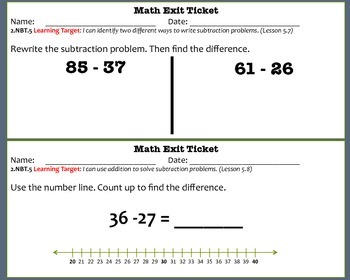 Math Exit Tickets-Second Grade -Go Math! Program:2-digit Subtraction-Chapter 5