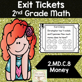 Math Exit Tickets: Second Grade Money 2.MD.C.8