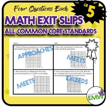 Math Exit Tickets Slips Mini Assessments All 5th grade com