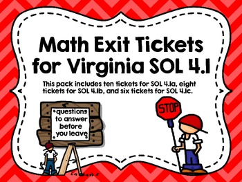 Math Exit Tickets for Virginia SOL 4.1
