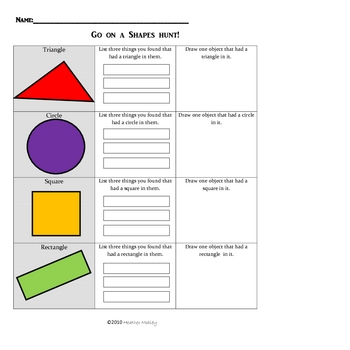 Math: Exploring Two Dimensional Shapes Packet