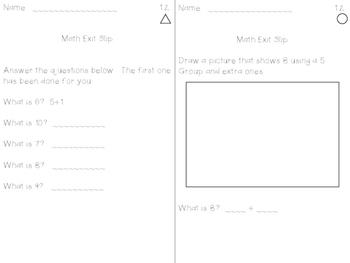 Math Expression Exit Slips - Unit 1