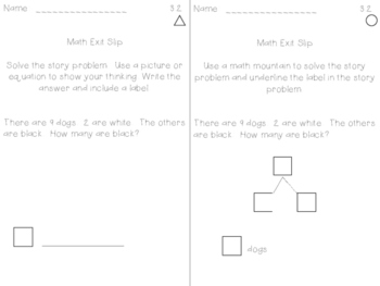 Math Expression Exit Slips - Unit 3