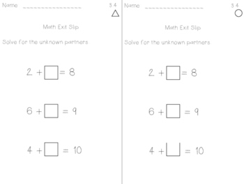 Math Expression Exit Slips - Unit 3