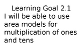 Math Expression Unit 2 Learning Goals 4th Grade