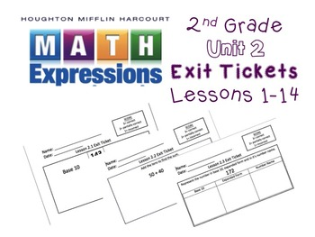 Math Expressions 2nd Grade Unit 2 Exit Tickets