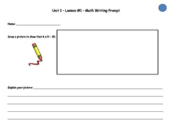 Math Expressions- Writing Prompts - 3rd grade: Unit 1 lessons (1-10)