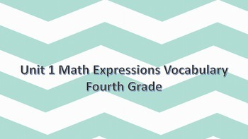 Math Expressions 4th grade word wall words Volume 1