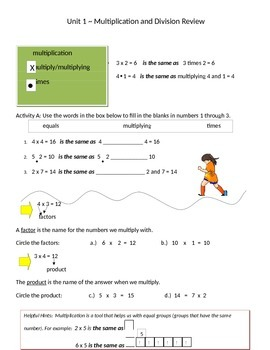 Math Expressions 5th Grade Vocabulary Companion Unit 1
