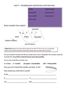 Math Expressions 5th Grade Vocabulary Companion Unit 7