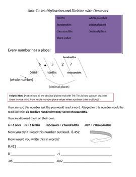 Math Expressions 5th Grade Vocabulary Companion Unit 7