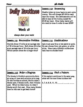 Math Expressions Daily Routines for Fifth Grade