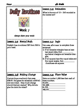 Math Expressions Daily Routines for Fourth Grade
