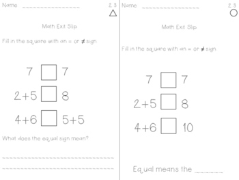 Math Expressions Exit Slips - Unit 2