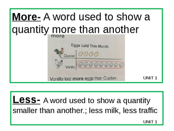 Math Expressions Grade 1 Unit 1, 2, 3 Vocabulary