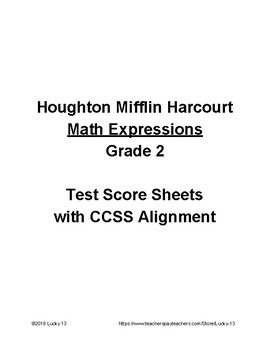 Math Expressions Grade 2 Test Score Sheets with CCSS Alignment