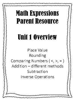 Math Expressions Grade 4 Unit 1 Parent Homework Helper