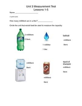 Math Expressions Measurement Unit 3 Lessons 1-5 Test