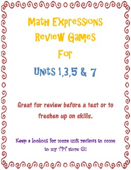 Math Expressions Review Game Combo for Units 1, 3, 5 & 7 Grade 3