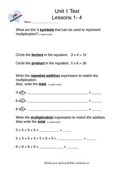 Math Expressions Unit 1 3rd grade test package
