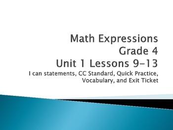 Math Expressions Unit 1 Lesson 9-13 Grade 4