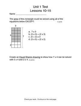 Math Expressions Unit 1 Lessons 10-15 test 3rd grade
