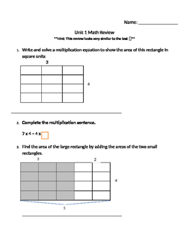 Math Expressions Unit 1 Review 3rd Grade - WITH ANSWER KEY