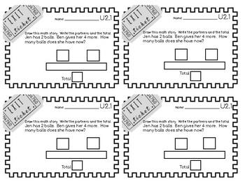 Math Expressions Unit 2 Exit Tickets - 1st Grade