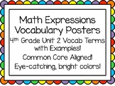 Math Expressions Unit 2 Grade 4 Vocabulary Posters