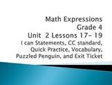 Math Expressions Unit 2 Lessons 17-19 Grade 4