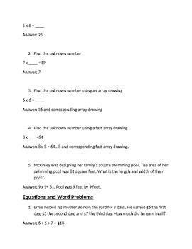 Math Expressions Unit 2 Review 3rd Grade