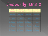 Math Expressions Common Core Unit 3 Jeopardy for 1st Grade