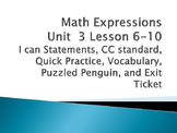 Math Expressions Unit 3 Lessons 6-10