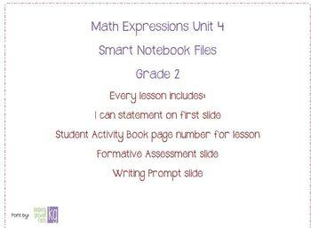 Math Expressions Unit 4 Grade 2 Smart Notebook Companion Files
