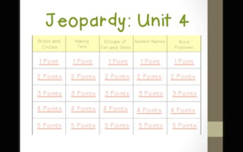 Math Expressions 2011 Unit 4 Jeopardy for 1st Grade