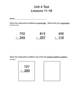 Math Expressions, Unit 4 Lessons 11-18, Subtraction, 3rd grade
