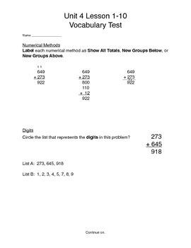 Math Expressions, Unit 4, Vocabulary Test, Grade 3