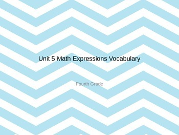 Math Expressions Unit 5-8 PART 2 Word Wall Words