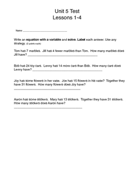 Math Expressions, Unit 5 Lessons 1-4, Writing Equations, Grade 3