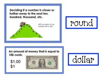 Math Expressions Unit 5 Vocabulary Match-Up Cards