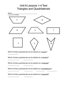 Math Expressions Unit 6 Lessons 1-4 Geometry 3rd grade