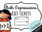 Math Expressions Unit 7 Exit Tickets - 1st Grade