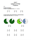 Math Expressions Unit 7 Fractions 3rd Grade Test Package
